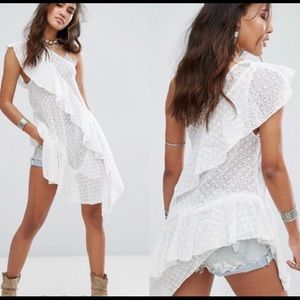 FREE PEOPLE NWOT Cotton Lace Asymmetrical Tunic